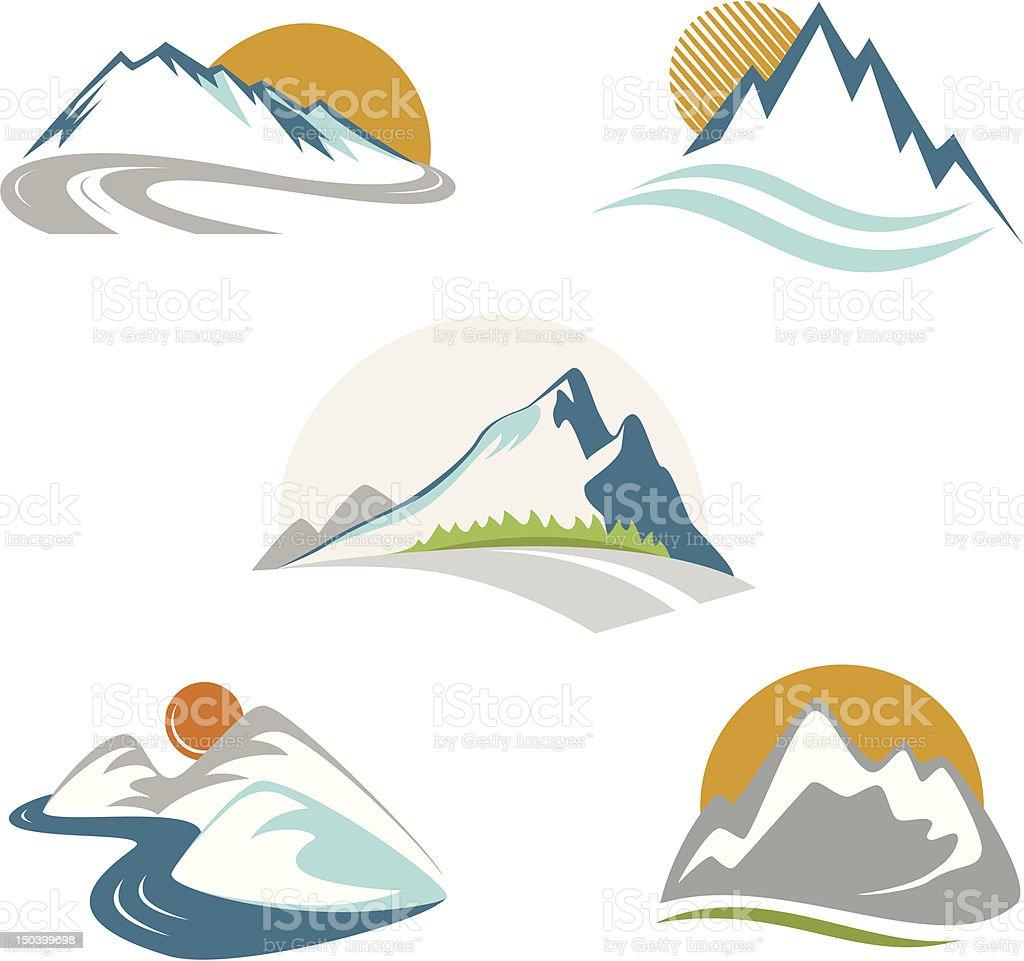 Blue mountains emblem set vector art illustration
