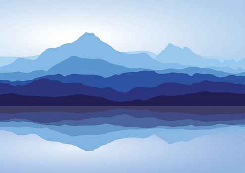 Landscape with huge blue mountains with reflection in lake. Vector illustration.