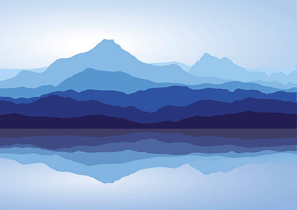 blue mountains near lake - blue silhouettes stock illustrations