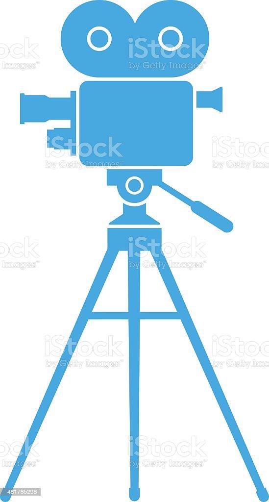 Blue movie camera vector art illustration
