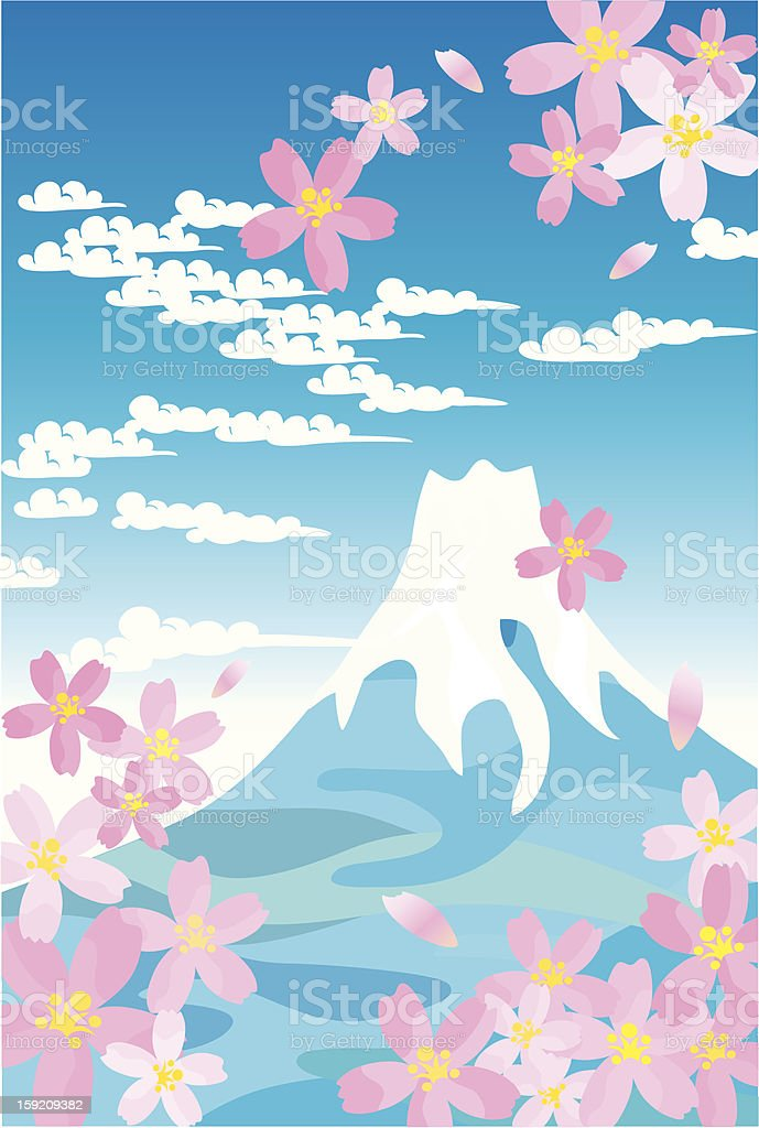 Blue Mt.Fuji and cherry blossoms royalty-free stock vector art