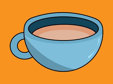 Blue mug with coffee on an orange background