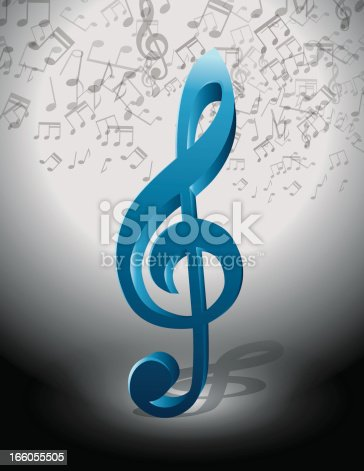 Blue Music Clef