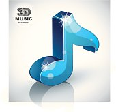 Blue musical note icon isolated, 3d music design element, image contain transparent shadows reflections and flares  – ready to put over any background.