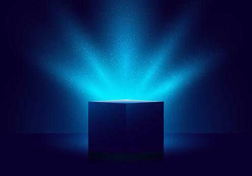 3D blue mystery box with Illuminated lighting glitter on dark background
