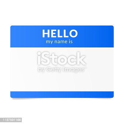 Blue name tag sticker. Speed dating ice breaker.