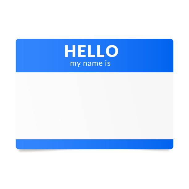 藍色名稱標籤貼紙。快速約會破冰船 - 問候 幅插畫檔、美工圖案、卡通及圖標