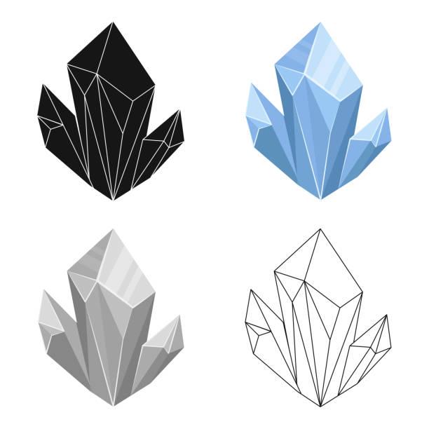 Blue natural mineral icon in cartoon style isolated on white background. Precious minerals and jeweler symbol stock vector web illustration. - illustrazione arte vettoriale