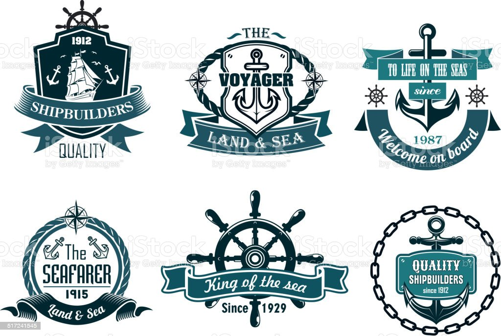 Blue nautical and sailing themed banners or icons vector art illustration