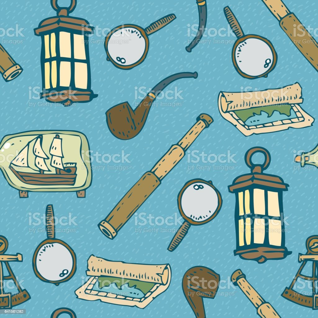 Blue Nautical Seamless Pattern vector art illustration