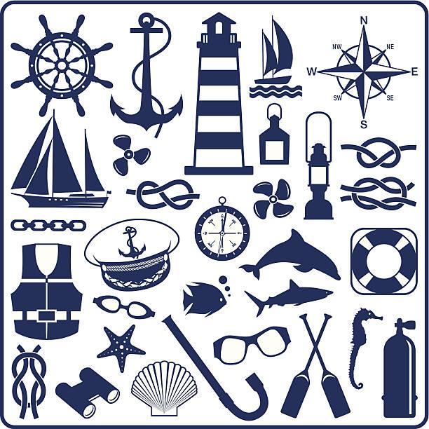 blaue nautische symbole - matrosenmütze stock-grafiken, -clipart, -cartoons und -symbole