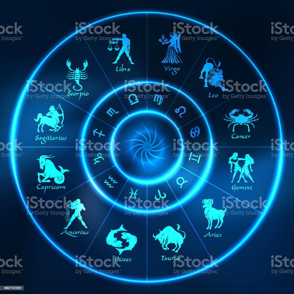 Círculo de horóscopo de néon azul. Círculo com os signos do Zodíaco. Vector - ilustração de arte em vetor