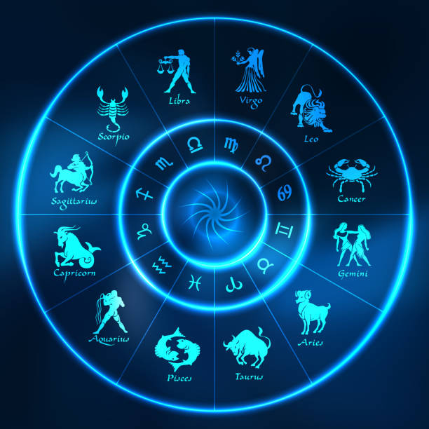 Blue neon horoscope circle.Circle with signs of zodiac.Vector Blue neon horoscope circle.Circle with signs of zodiac.Vector illustration scorpio stock illustrations