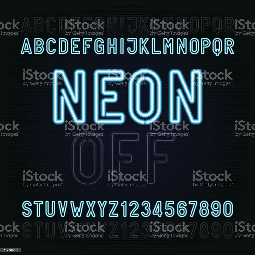 Blue Neon Light Alphabet Font. Lights on or off. vector art illustration