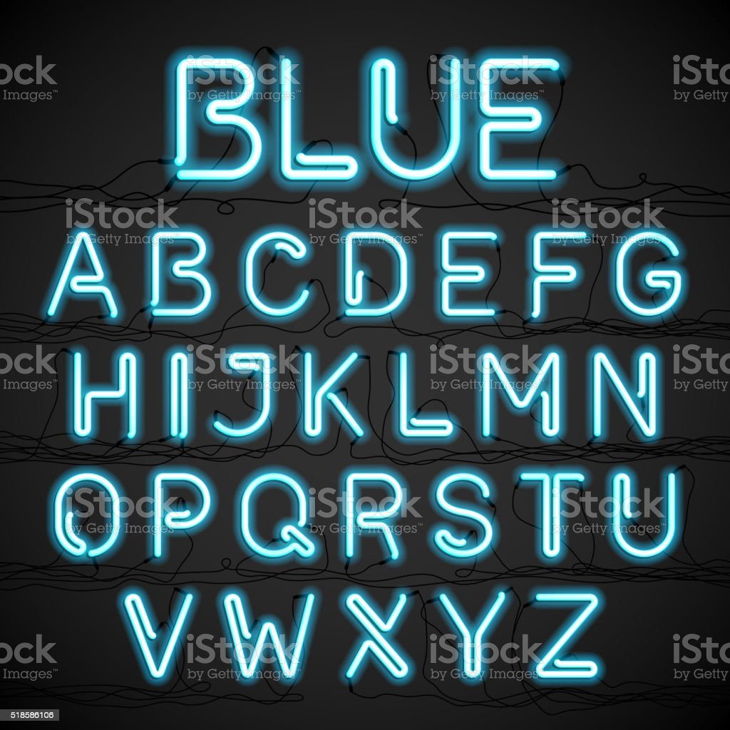 Blue neon light alphabet with cable vector art illustration