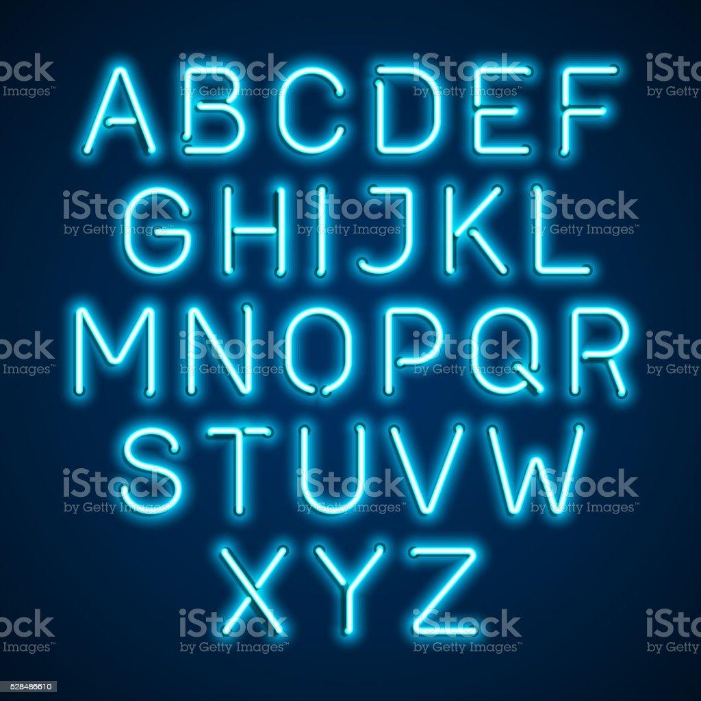 Blue neon light glowing alphabet vector art illustration
