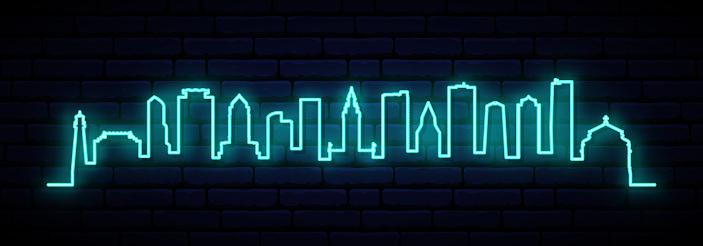 Blue neon skyline of Miami city. Bright Miami long banner. Vector illustration.