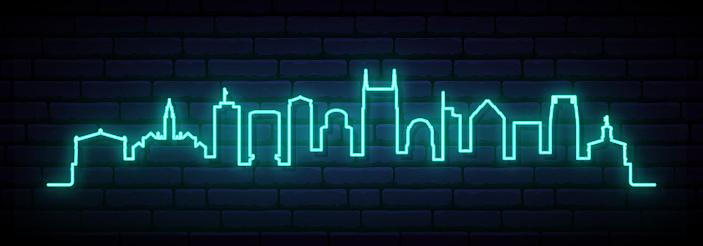 Blue neon skyline of Nashville. Bright Nashville City long banner. Vector illustration.