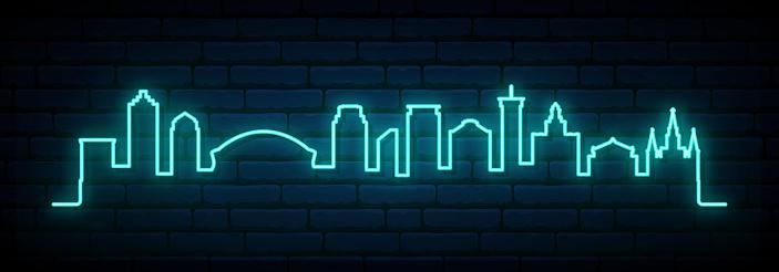 Blue neon skyline of New Orleans city. Bright New Orleans long banner. Vector illustration.