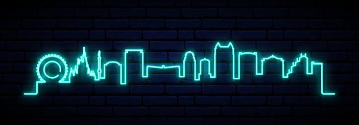 Blue neon skyline of Orlando City. Bright Orlando City long banner. Vector illustration.
