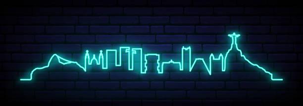 ilustrações de stock, clip art, desenhos animados e ícones de blue neon skyline of rio de janeiro city. bright rio long banner. vector illustration. - rio de janeiro