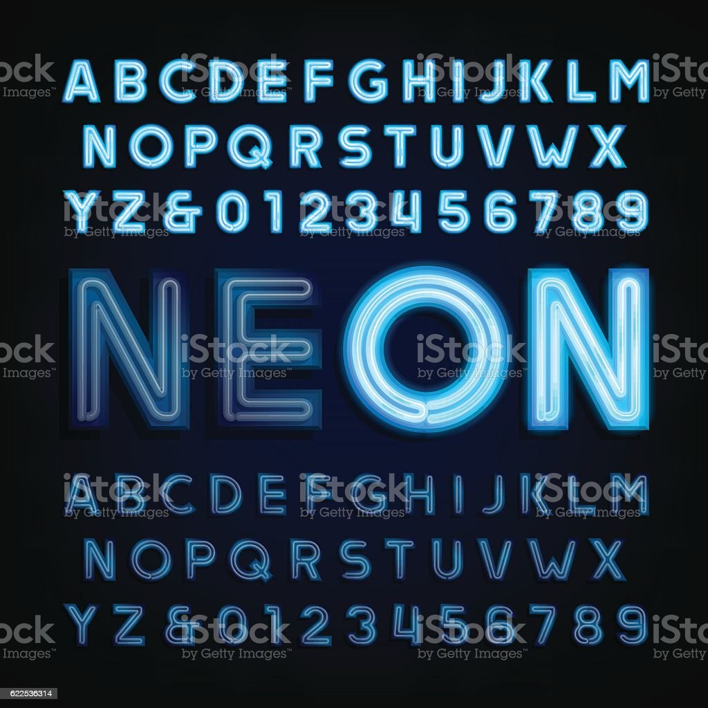 Blue neon tube alphabet font. Light turn on and off. vector art illustration