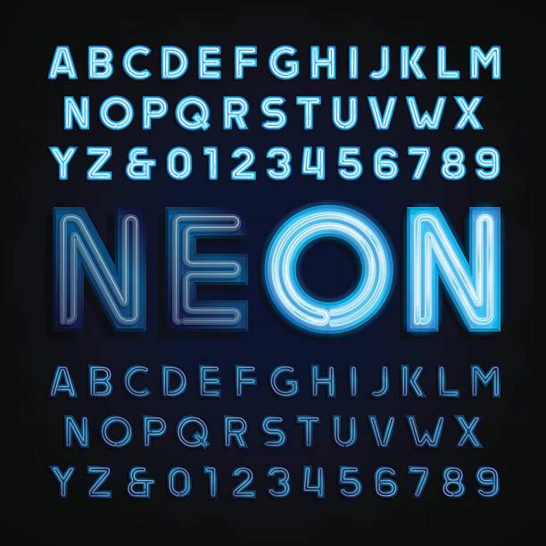 blue neon tube alphabet font. light turn on and off. - 형광색의 stock illustrations
