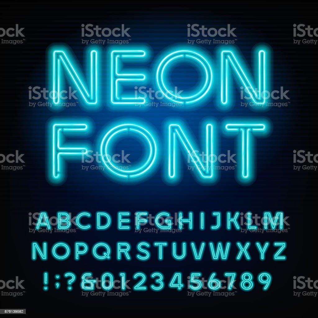 Ilustración de Letra De Alfabeto De Tubo De Neón Azul Neon Color ...