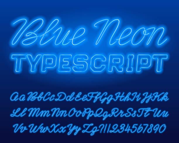 블루 네온 typescript. 블루 색상 소문자와 대문자 반짝 편지와 숫자 - 형광색의 stock illustrations