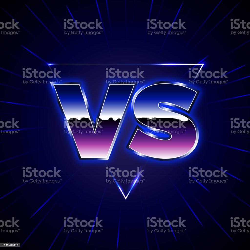 Blue Neon Versus Emblem. VS Vector Letters Illustration vector art illustration