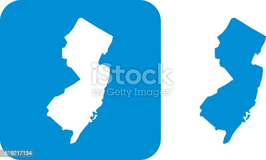 Vector illustration of blue New Jersey icons.