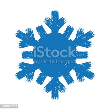 istock blue new year paint brush hand drawn snowflakes isolated 861067242