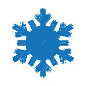 blue new year paint brush hand drawn snowflakes isolated