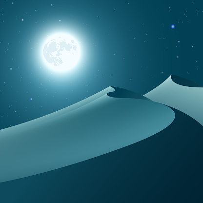 Blue night desert with moon and starry sky. Vector illustration.