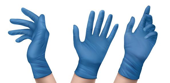 Blue nitrile medical gloves on hands