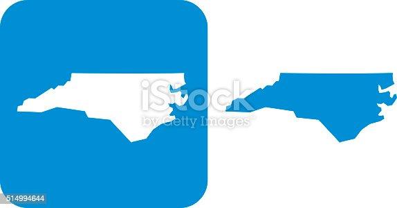 Vector illustration of two blue North Carolina icons.