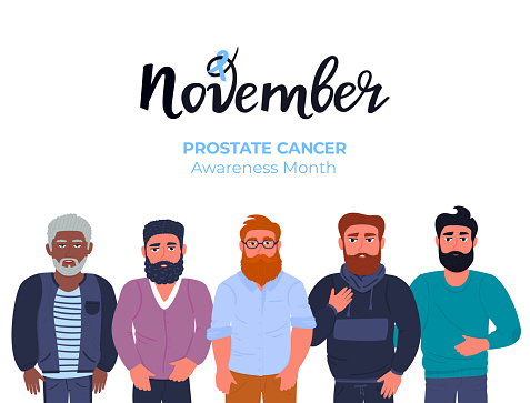 Blue November . A group of bearded men of different nationalities with a mustache . Prostate cancer awareness month. Men s health concept. Ribbon. Trend flat characters. Hand drawn lettering