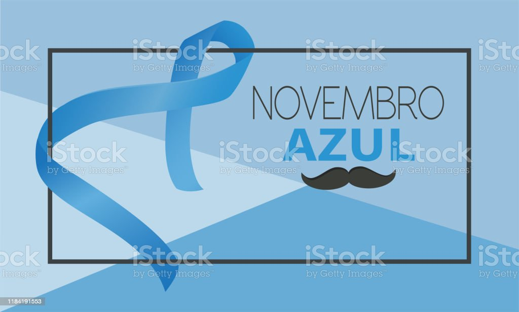 Novembro azul na língua portuguesa - Vetor de Apoio royalty-free