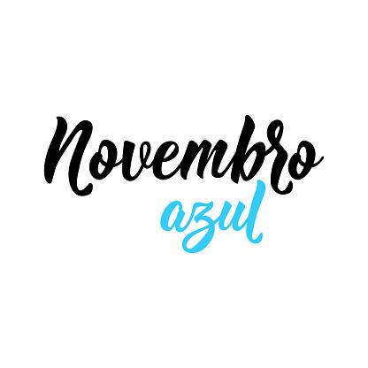 Blue November in Portuguese. Lettering. Ink illustration. Modern brush calligraphy.