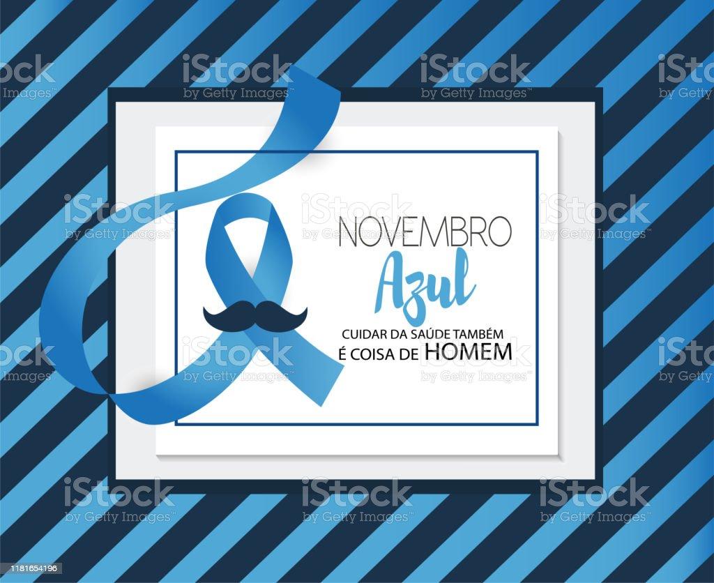 Novembro azul-cuidar da saúde também é coisa de homem, em língua portuguesa - Vetor de Apoio royalty-free