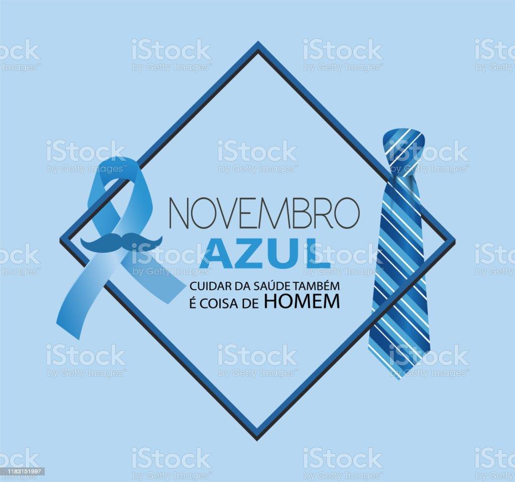Novembro Azul Cuidar da saúde também é coisa de homem, em língua portuguesa - Vetor de Assistência royalty-free