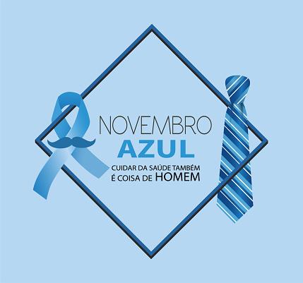 Vetores de Novembro Azul Cuidar Da Saúde Também É Coisa De Homem Em Língua Portuguesa e mais imagens de Assistência