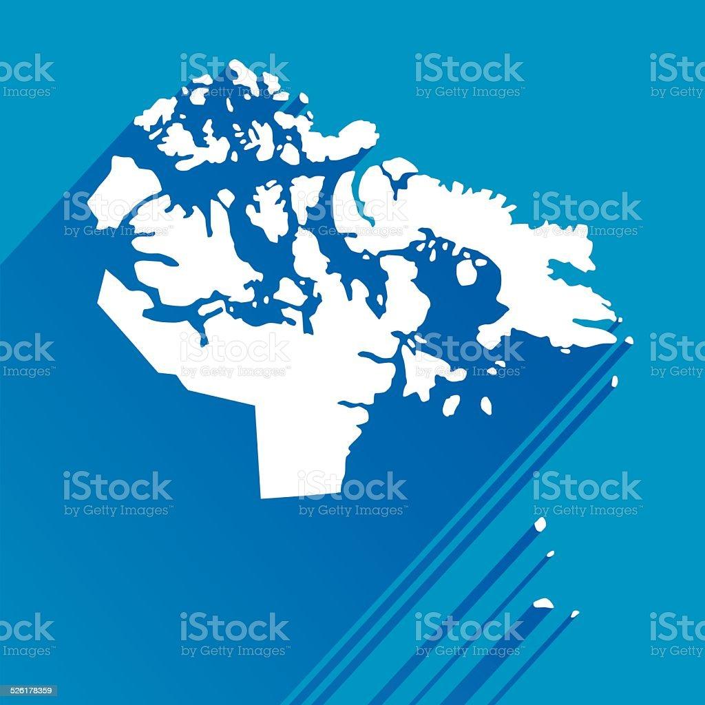 Blue Nunavut Map icon vector art illustration