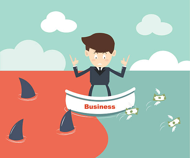 blue ocean and red ocean Business strategy concept vector art illustration