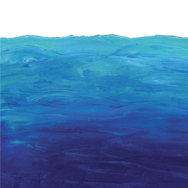 Blue Ocean Background Acrylic Painting Vector illustration of Acrylic painting. sea stock illustrations