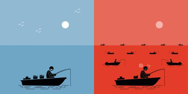 Blue Ocean Strategy vs Red Ocean Strategy. Vector artwork depicts competition, clash, struggle, competitors, uncontested market, and successful business strategy. cutthroat stock illustrations
