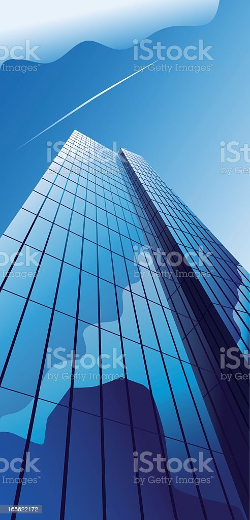 Blue office building with reflecting cloud vector art illustration