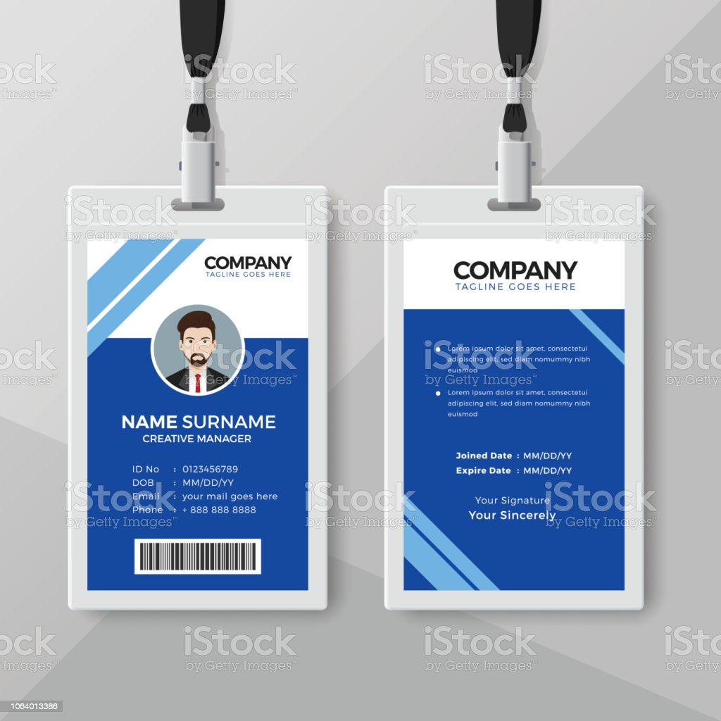 blue office identity card design template stock vector art more