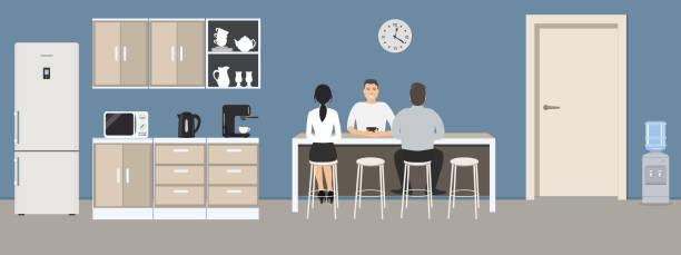 bildbanksillustrationer, clip art samt tecknat material och ikoner med blå kontor kök. matsalen på kontoret - arbeta köksbord man