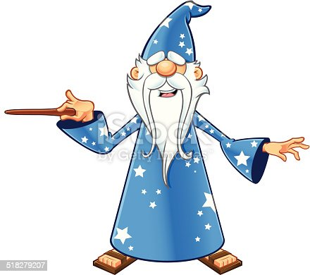 Blue Old Wizard Pointing With Wand Stock Vector Art & More ...
